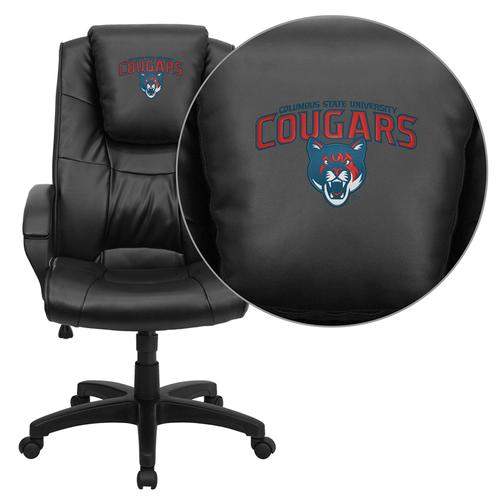 Columbus State University Cougars Embroidered Black Leather Executive Office Chair