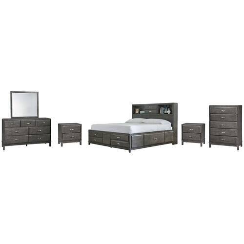 Queen Storage Bed With 8 Storage Drawers With Mirrored Dresser, Chest and 2 Nightstands