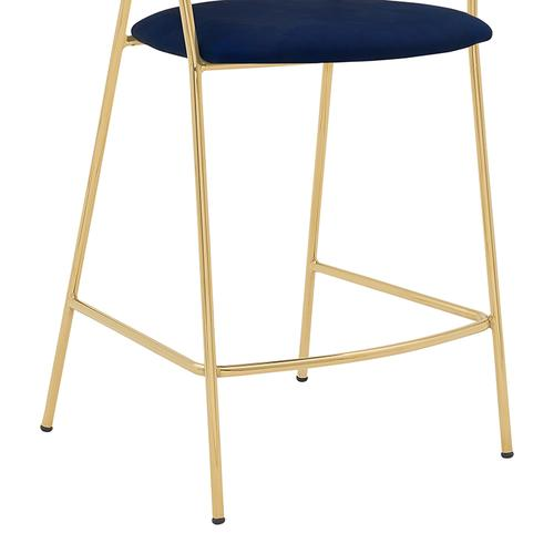 """Armen Living - Nara 26"""" Modern Counter Height Bar Stool with Gold Metal Finish and Blue Faux Leather"""