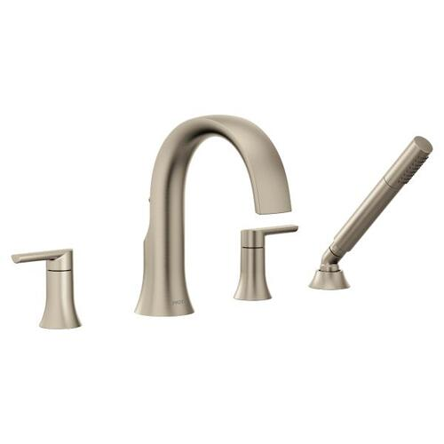 Doux brushed nickel two-handle roman tub faucet