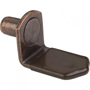 "Antique Copper 1/4"" Pin Angled Shelf Support with 3/4"" Arm and Brown Plastic Sleeve Product Image"