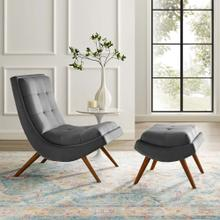 See Details - Ramp Upholstered Performance Velvet Lounge Chair and Ottoman Set in Gray