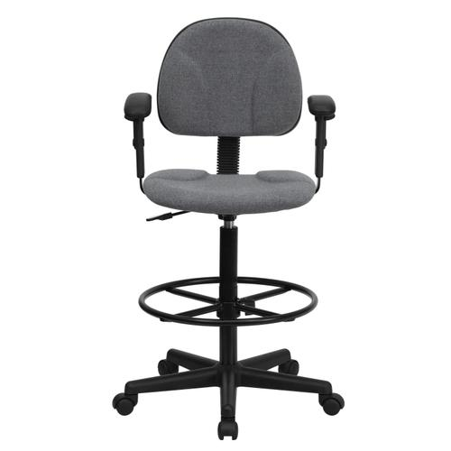 Gallery - Gray Fabric Drafting Chair with Adjustable Arms (Cylinders: 22.5''-27''H or 26''-30.5''H)