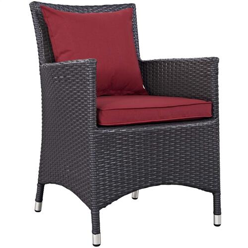Convene 3 Piece Set Outdoor Patio with Fire Pit in Espresso Red