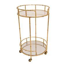 2-tier Gold Metal Bar Cart, Mirror Top