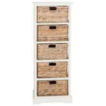 See Details - Vedette 5 Wicker Basket Storage Tower - Distressed White