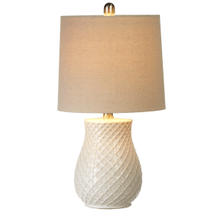 Ivory Embossed Diamond Pattern Table Lamp with Bulb. 60W Max. (163173) (2 pc. assortment)