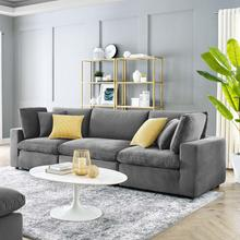 Commix Down Filled Overstuffed Performance Velvet 3-Seater Sofa in Gray