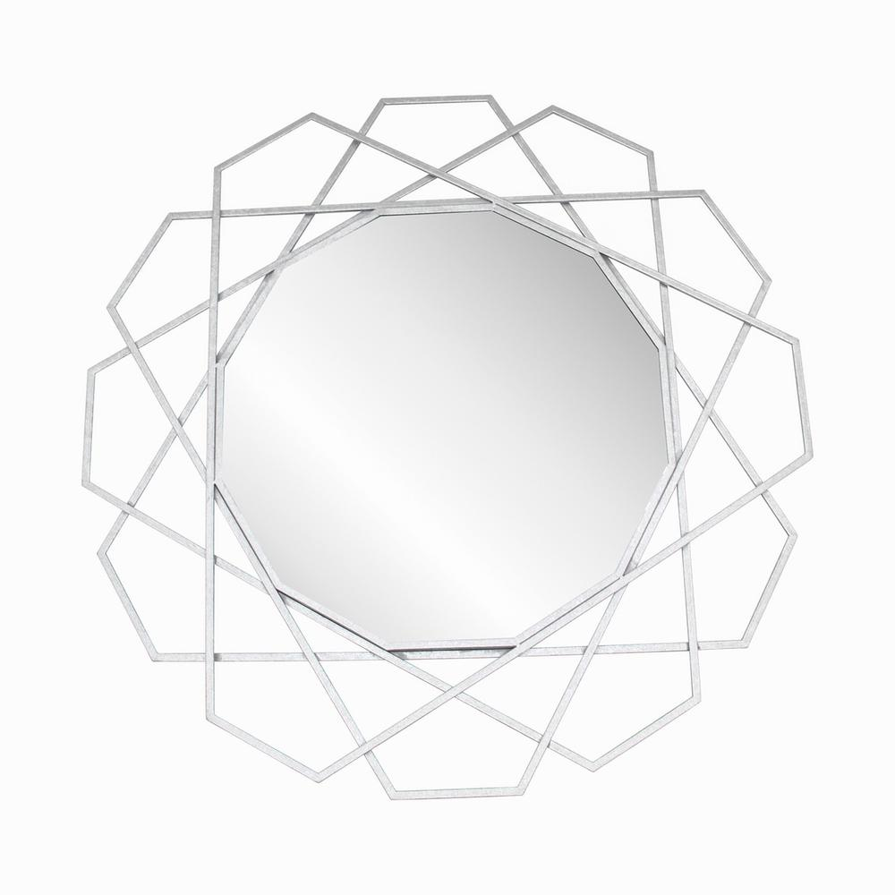 "Metal 35"" Geometric Mirror, Silver Wb"