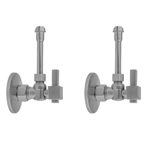"""Product Image - Satin Brass - Quarter Turn Angle Pattern 5/8"""" O.D. Compression (Fits 1/2"""" Copper) x 3/8"""" O.D. Faucet Supply Kit with Square Lever Handle, 20"""" Supply Tubes, Escutcheons"""