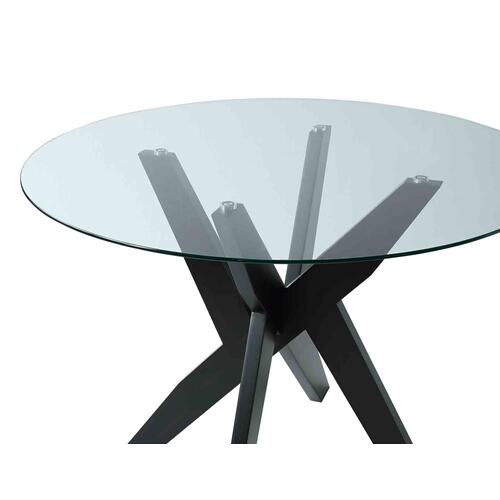 Amalie Grey Velvet 5 Piece Set (Glass Top Table & 4 Side Chairs)