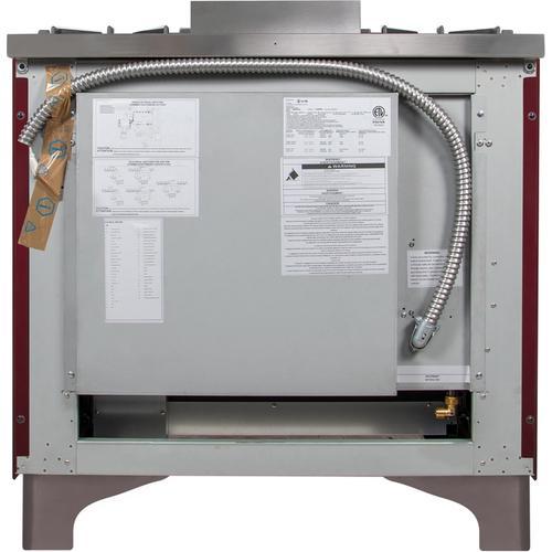 36 Inch Burgundy Dual Fuel Natural Gas Freestanding Range