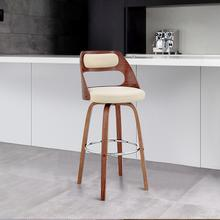 """View Product - Julius 30"""" Cream Faux Leather and Walnut Wood Bar Stool"""