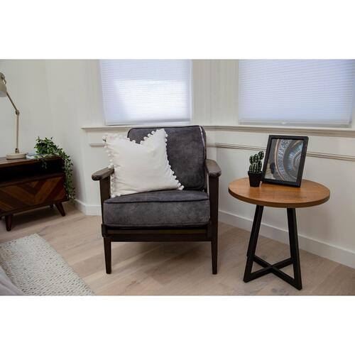 Albert Fabric Accent Arm Chair Dark Brown Frame, Pewter Hide