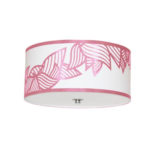 3lt Flush-mount Polished Chrome Pink & White Shade