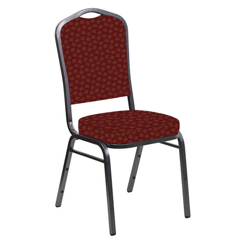 Crown Back Banquet Chair in Scatter Maroon Fabric - Silver Vein Frame