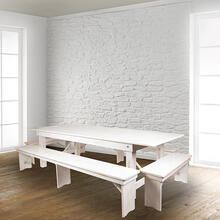 "HERCULES Series 8' x 12"" Antique Rustic Solid White Pine Folding Farm Bench with 3 Legs"