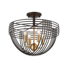 Concentric 4-Light Semi Flush Mount in Oil Rubbed Bronze with Clear Crystal Beads