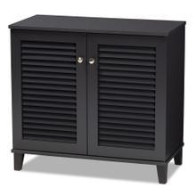 See Details - Baxton Studio Coolidge Modern and Contemporary Dark Grey Finished 4-Shelf Wood Shoe Storage Cabinet