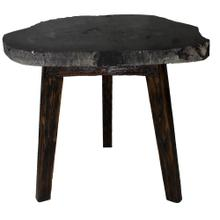 Zandra Petrified Side Table Washed Black Legs, Black