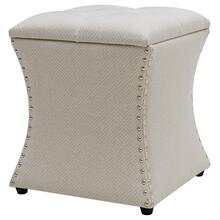 Amelia Fabric Nailhead Tufted Storage Ottoman, Cardiff Cream