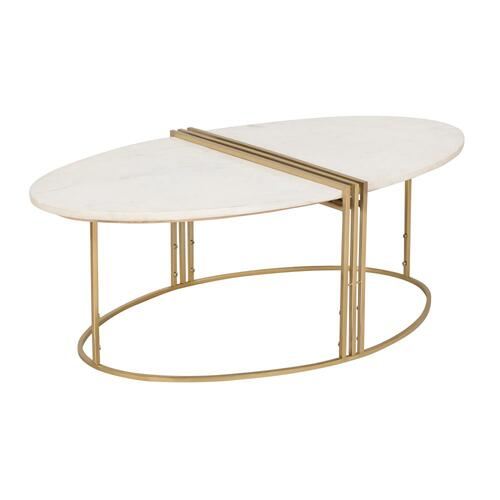 Tov Furniture - Caleb Oval White Marble Cocktail Table