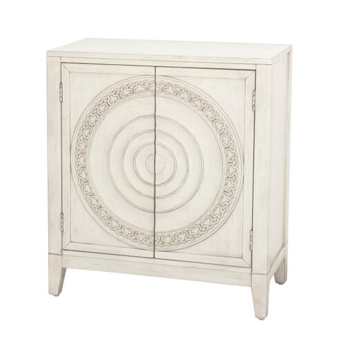 Traditional Carved Distressed Cream Ornate Two Door Accent Chest