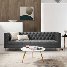 Delight Tufted Button Performance Velvet Sofa in Gray