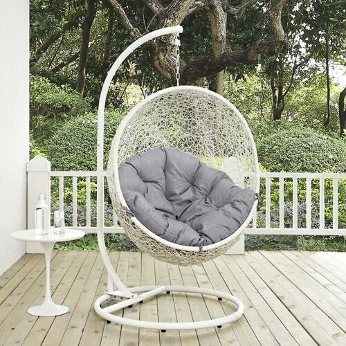 Eei2273whigry In By Modway In Albany Ny Hide Outdoor Patio Swing Chair With Stand In White Gray
