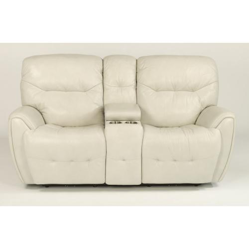 - Craze Leather Power Reclining Loveseat with Console and Power Headrests