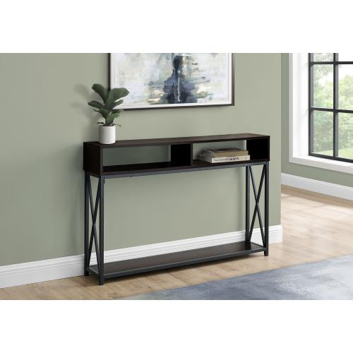 "ACCENT TABLE - 48""L / ESPRESSO / BLACK METAL HALL CONSOLE"