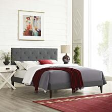 Tarah King Fabric Platform Bed with Squared Tapered Legs in Gray