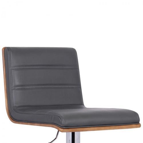 Armen Living Aubrey Barstool Chrome Base finish with Gray Pu upholstery and Walnut back