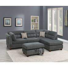 Claudia 3pc Sectional Sofa Set, Slate Velvet