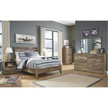 Full Panel Bed With Mirrored Dresser and 2 Nightstands