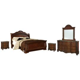 Queen Sleigh Bed With Mirrored Dresser and 2 Nightstands