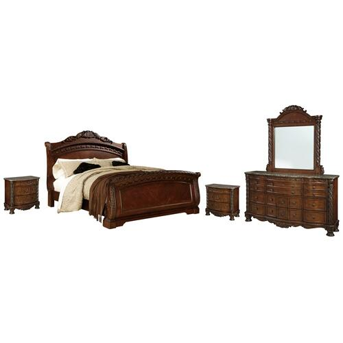 Ashley - Queen Sleigh Bed With Mirrored Dresser and 2 Nightstands