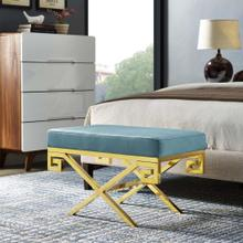 Rove Velvet Performance Velvet Bench in Sea Blue
