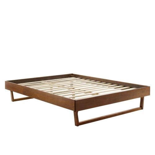 Billie King Wood Platform Bed Frame in Walnut