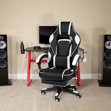 Red Gaming Desk with Cup Holder\/Headphone Hook & White Reclining Back\/Arms Gaming Chair with Footrest