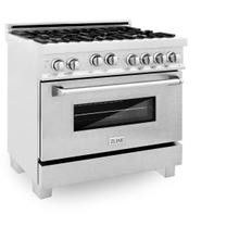 ZLINE 36 in. Professional 4.6 cu. ft. 4 Gas on Gas Range in DuraSnow® Stainless Steel (RGS-SN-36)