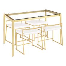 See Details - Fuji Dinette Set - Gold Metal, Clear Glass, White Pu