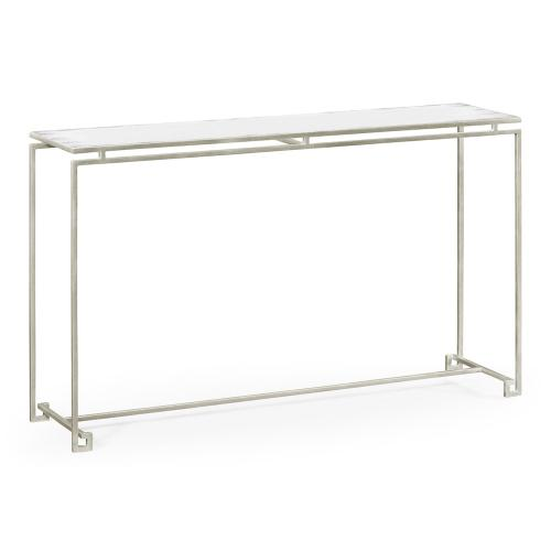 Silver Iron Large Console Table with An Antique Glass Top
