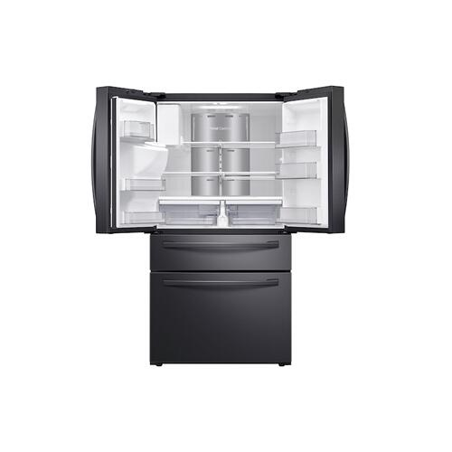"""Gallery - 28 cu. ft. 4-Door French Door Refrigerator with 21.5"""" Touch Screen Family Hub™ in Black Stainless Steel"""