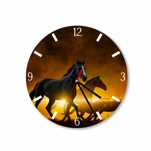 Grako Design - Three Horses With Gold Background Round Square Acrylic Wall Clock