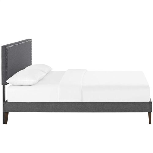 Macie King Fabric Platform Bed with Squared Tapered Legs in Gray