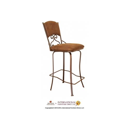 30in Swivel Barstool Armless - Brown Microfiber Seat and back
