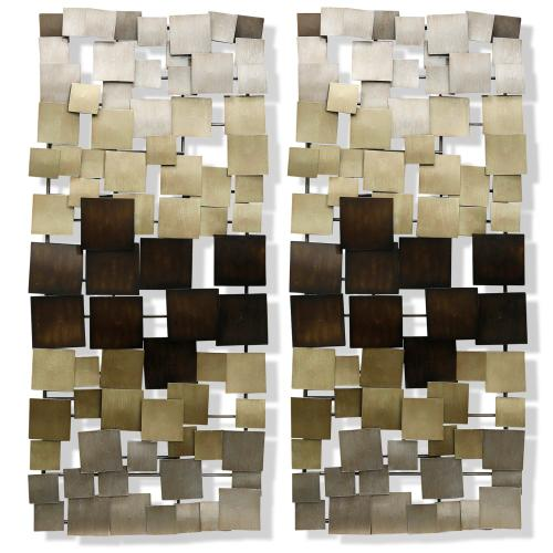 Style Craft - Gold Ombre Metal Art Panels  46in  Set Of 2 Metal Art