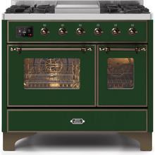 Majestic II 40 Inch Dual Fuel Liquid Propane Freestanding Range in Emerald Green with Bronze Trim