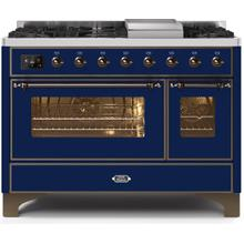 Majestic II 48 Inch Dual Fuel Liquid Propane Freestanding Range in Blue with Bronze Trim